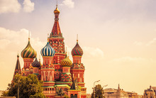 St Basil's Cathedral On Beautiful Sunny Sky Background, Moscow, Russia