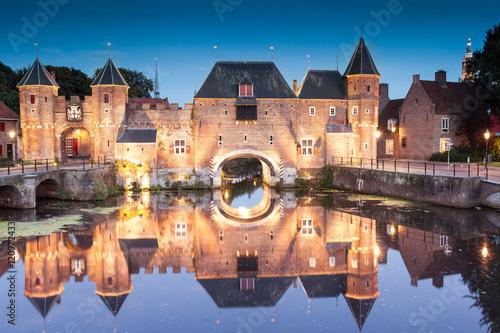 Koppelpoort medieval Dutch fortress city Amersfoort at night, Netherlands Wallpaper Mural