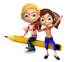 Kid Boy With And Girl Pencil