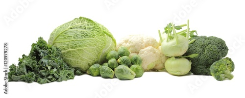 Poster Légumes frais Healthy Vegetables Isolated on White Background