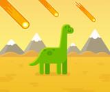 Fototapeta Dino - Asteroid strike dinosaur cartoon