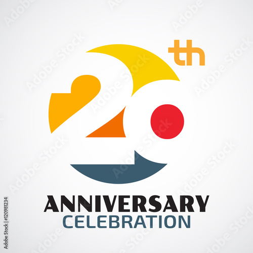 Fotografía  Template Logo 20th anniversary with a circle and the number20 in