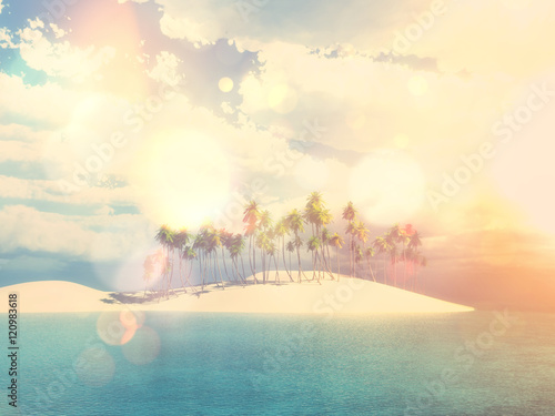 Garden Poster 3D palm tree island with vintage effect
