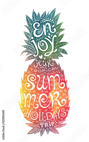 Bright colors hand drawn watercolor pineapple silhouette with grunge lettering inside Tablou Canvas