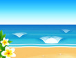 Vector sunny beach with waves and frangipani flower