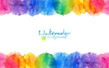 Bright Rainbow Colors Watercolor Circles Frame