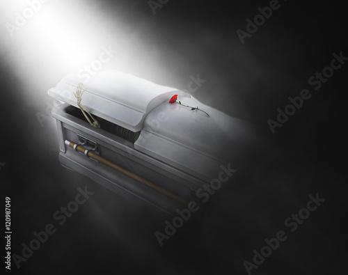 Obraz na plátně 3D coffin with skeleton emerging