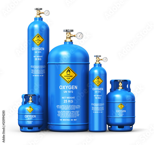 Fotografía Set of different liquefied oxygen industrial gas containers