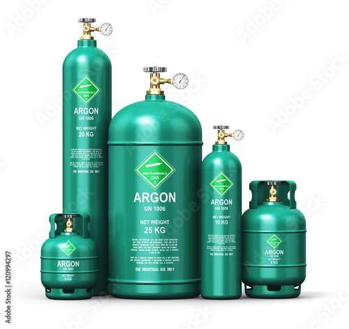 Set of different liquefied argon industrial gas containers Wallpaper Mural