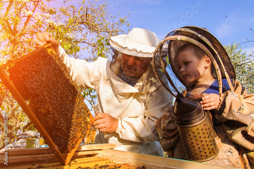 Grandpa beekeeper passes his experience little grandson.