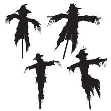 Set Of Scarecrows, Vector Illu...