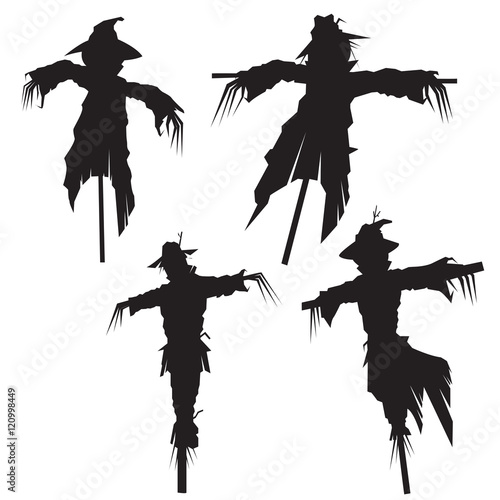 Obraz na plátně set of scarecrows, vector illustration
