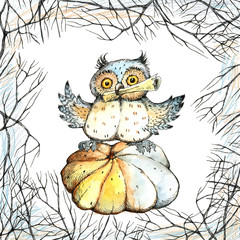 Halloween, a set of drawings, crow, owl, pumpkin, candy, tree, watercolor, ink.