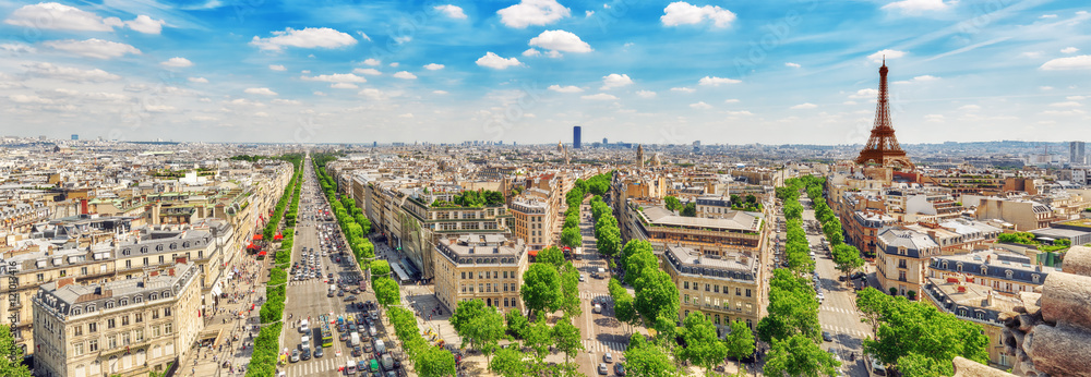 Fototapety, obrazy: Beautiful panoramic view of Paris from the roof of the Triumphal