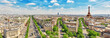 Beautiful panoramic view of Paris from the roof of the Triumphal