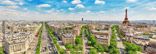 Beautiful panoramic view of Paris from the roof of the Triumphal - 121013416