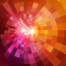 Abstract Red Shining Circle Tunnel Background