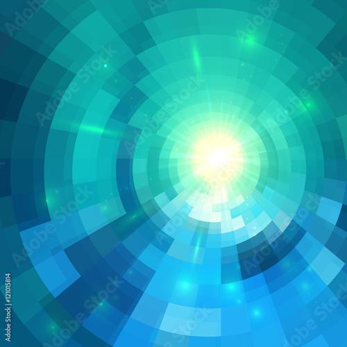 Abstrakcjonistyczny błękitny jaśnienie okręgu tunelu tło