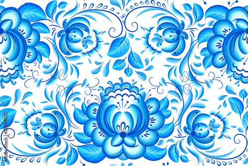 Fényképezés  Ornate blue and white floral vector pattern