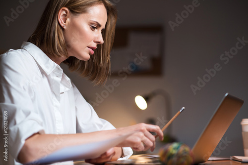 Concentrated woman working on a laptop Poster
