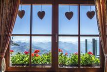 Window Of Alpine Cottage, Tirol, Austria. View From Inside.