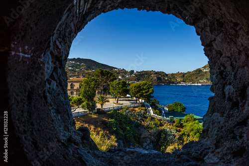 View out of the window looking towards Lipari, Sicily Wallpaper Mural