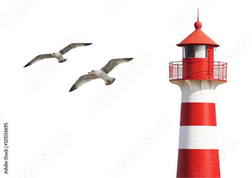 Garden Poster Lighthouse Leuchtturm mit Möwen