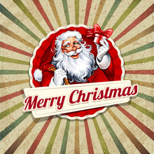 Vector Vintage Christmas Greeting Card With Santa Claus Retro Illustration. Calligraphic And Typographic Design Elements.