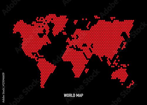 Hexagon shape world map on black background vector image buy hexagon shape world map on black background vector image gumiabroncs Gallery