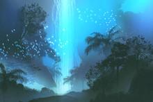 Night Scenery Showing Blue Wat...