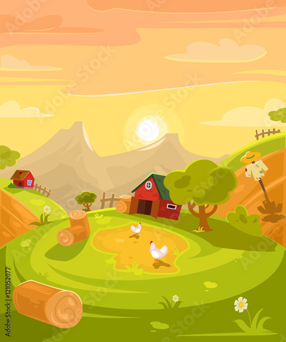 Vector retro illustration of the countryside.