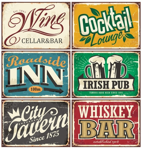 Plakat na zamówienie Vintage tin signs collection with various drinks and beverages themes