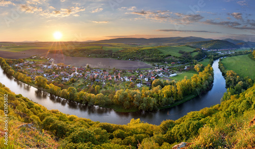 Spring Slovakia panorama landscape with river Hron. Canvas-taulu