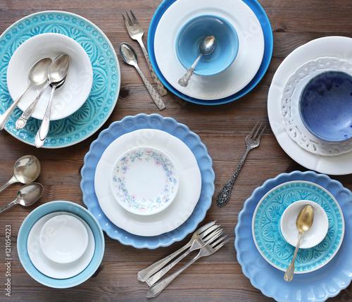 Fotografía  Geschirr in weiss und blau
