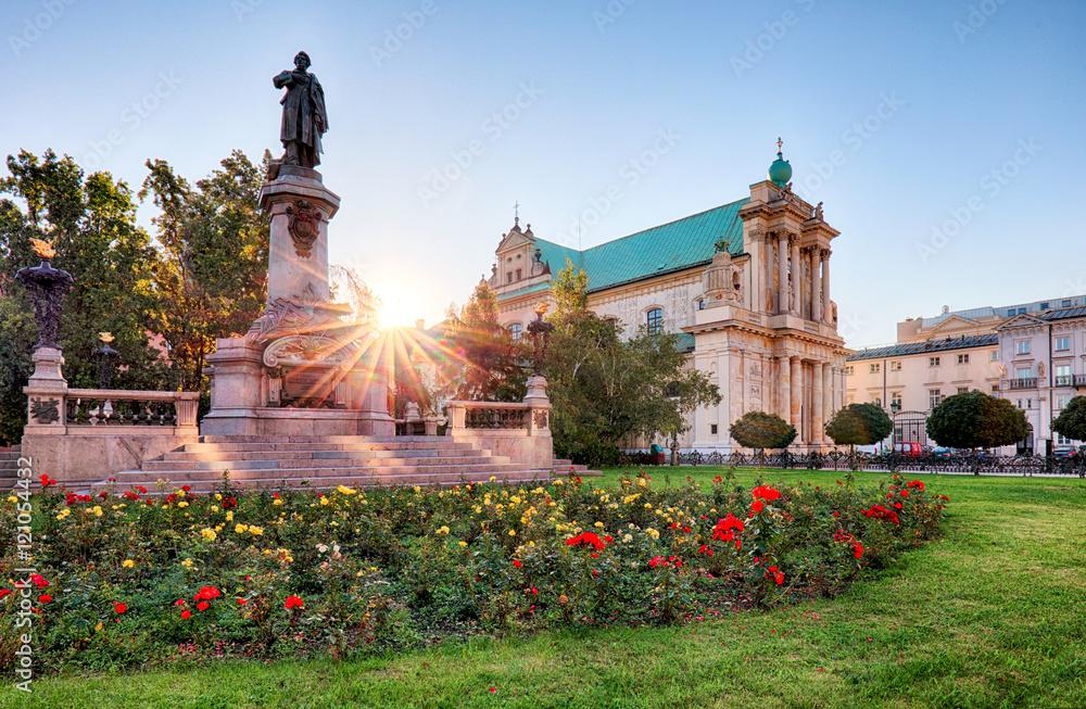 Fototapety, obrazy: Pomnik Adama Mickiewicza na Krakowskim Przedmieściu w Warszawie