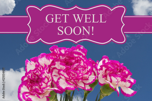 Valokuva  Get Well Soon message with a pink and white peony bouquet
