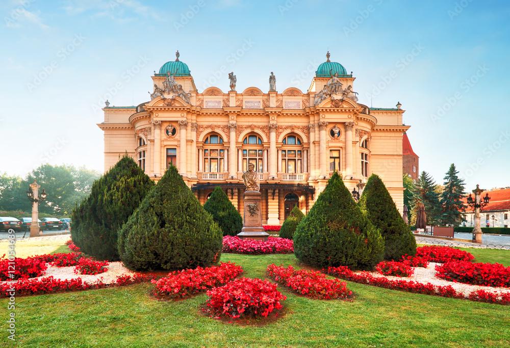 Fototapety, obrazy: Slowackiego theater in summer time in Krakow