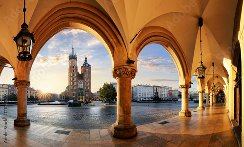 Krakow at sunrise, Poland. Canvas Print