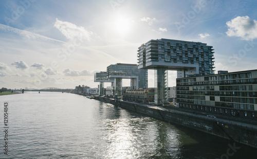 Photo Stands Port Kranhäuser und Rhein in Köln