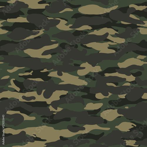 Fotografía  Seamless wide fashion woodland camo pattern vector