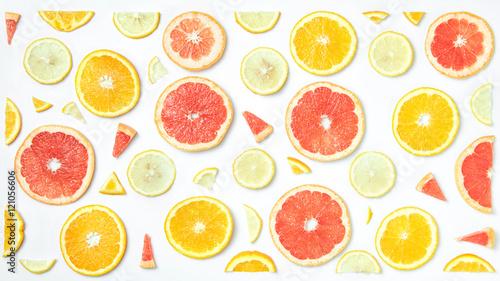 Fotografia  Mix fresh sliced orange, lemon and grapefruit