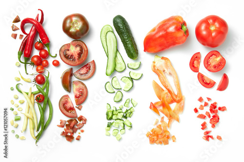 Fotografie, Obraz  Collection of vegetables isolated on white background
