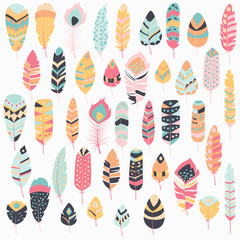 NaklejkaCollection of boho vintage tribal ethnic hand drawn colorful feathers, vector illustration
