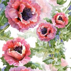 FototapetaBeautiful Watercolor Summer Garden Blooming Flowers Seamless Pattern