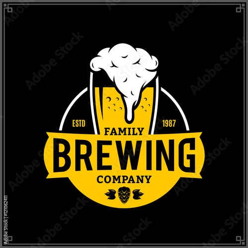 Photo Vector white and yellow vintage brewing company logo