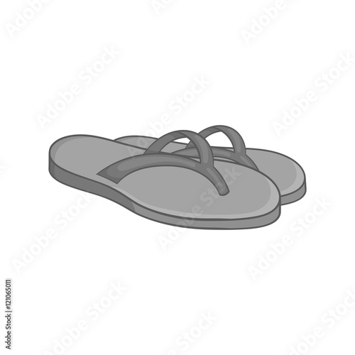 b7dbcd581ce2 Beach thongs icon in black monochrome style on a white background vector  illustration