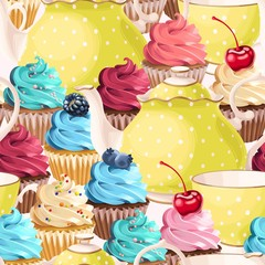 Fototapeta Do herbaciarni Seamless teacups and cupcakes