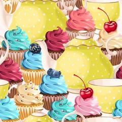Panel Szklany Do herbaciarni Seamless teacups and cupcakes