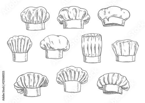 Photo Chef hat, cook cap and toque sketches