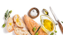 White Bread With Olive Oil, Above View